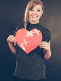 Smiling woman with healed heart. Royalty Free Stock Images