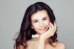 Smiling Woman with Healthy Hair. Wavy Hairs and Clear Skin Royalty Free Stock Photos
