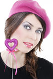 Smiling woman with heart Royalty Free Stock Photos