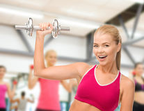 Smiling woman with heavy steel dumbbell Royalty Free Stock Photography