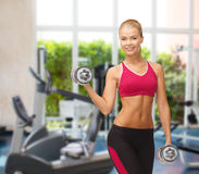 Smiling woman with heavy steel dumbbells at gym Royalty Free Stock Image