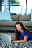 smiling woman on her laptop Royalty Free Stock Image