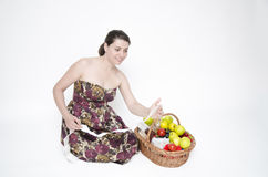 Smiling Woman with her Shoppings Stock Photo