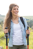 Smiling Woman Hiking Outdoor Stock Images