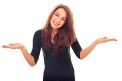 Smiling woman his hands out to side Stock Images