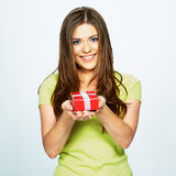 Smiling woman hold gift . Stock Photos