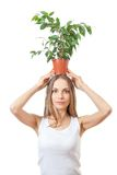 Smiling woman hold houseplant isolated on white. Royalty Free Stock Image