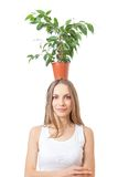 Smiling woman hold houseplant isolated on white. Stock Image