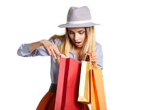 Smiling woman hold shopping bag. Stock Photos