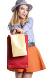 Smiling woman hold shopping bag. Stock Image