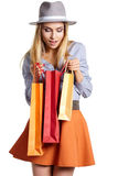 Smiling woman hold shopping bag. Stock Photo