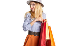 Smiling woman hold shopping bag. Stock Images