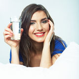 Smiling Woman hold water glass. Royalty Free Stock Images
