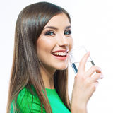 Smiling woman hold water glass.  white background  Royalty Free Stock Image