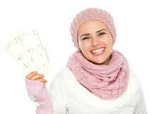 Smiling woman holding air tickets Royalty Free Stock Photo