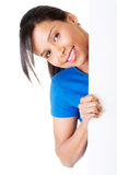 Smiling woman holding blank banner Royalty Free Stock Images
