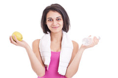 Smiling woman holding bottle of water Stock Image