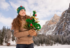 Smiling woman holding Christmas tree in the front of a mountains Stock Images