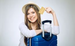 Smiling woman holding credit card. Royalty Free Stock Image