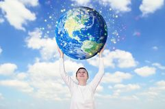Smiling woman holding Earth planet. Image are furnished by NASA. Smiling woman holding Earth planet. Elements of this image are furnished by NASA Stock Photography