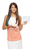 Smiling woman holding envelope Royalty Free Stock Photo