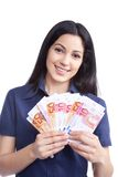 Smiling Woman Holding Euro Note Stock Photography
