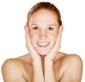 Smiling Woman Holding Face Stock Photos