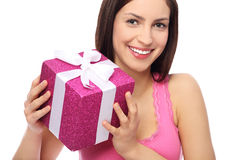 Smiling woman holding gift Royalty Free Stock Photo