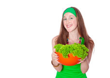 Smiling woman holding healthy salad meal Stock Photos