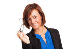 Smiling woman holding her eyeglasses Royalty Free Stock Photography