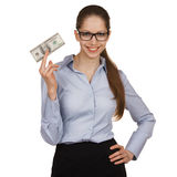 Smiling woman holding a hundred dollar bill Stock Images