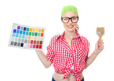 Smiling woman holding paintbrush Stock Image