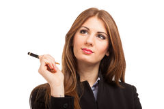 Smiling woman holding a pen Stock Photo