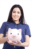 Smiling Woman Holding Piggy Bank Stock Photography