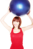 Smiling Woman Holding Pilates Ball Royalty Free Stock Image