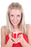 Smiling woman holding red peresent Stock Photography