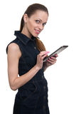 Smiling woman holding tablet computer, isolated Stock Photos