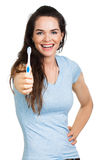 Smiling woman holding toothbrush Stock Image