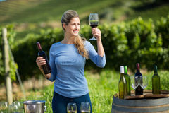 Smiling woman holding wineglass and bottle at vineyard Stock Photos