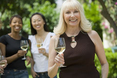 Smiling Woman Holding Wineglass With Friends In Background. Portrait of smiling middle aged women holding wineglass with friends in background Stock Photography