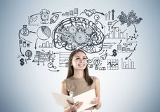 Smiling Woman In Beige And Brain Cogs Stock Image