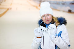Smiling woman in indoor ski Stock Photos