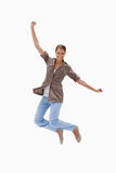 Smiling woman jumping Royalty Free Stock Photo