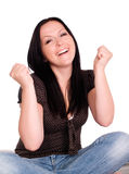 Smiling woman keeping her fingers crossed Stock Photography