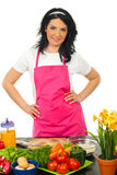 Smiling woman in kitchen Royalty Free Stock Photography