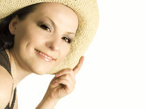 Smiling woman, lady in hat Stock Images