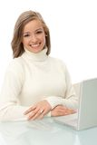 Smiling woman with laptop Stock Images