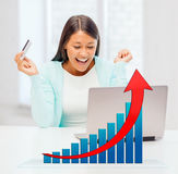 Smiling woman with laptop computer and credit card. Online shopping, finances, people and technology concept - smiling young woman with laptop computer, credit Stock Photo