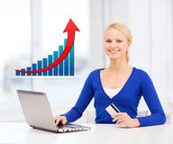 Smiling woman with laptop computer and credit card Royalty Free Stock Photo