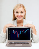 Smiling woman with laptop and forex chart royalty free stock photos